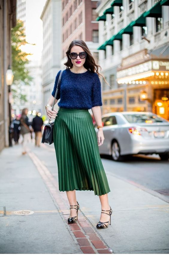 Nice navy blouse and green skirt