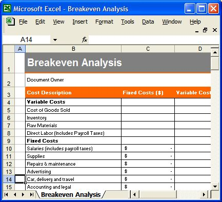 Free Break Even Analysis Template Break Even Analysis Using Free Sample  Breakeven Analysis .