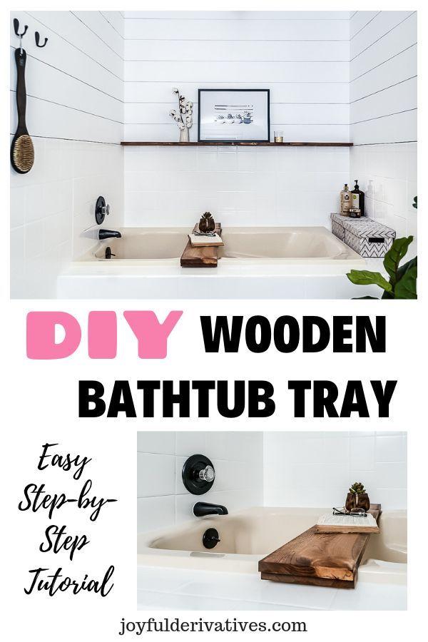 Wooden Bathtub Tray DIY Tutorial - Joyful Derivatives