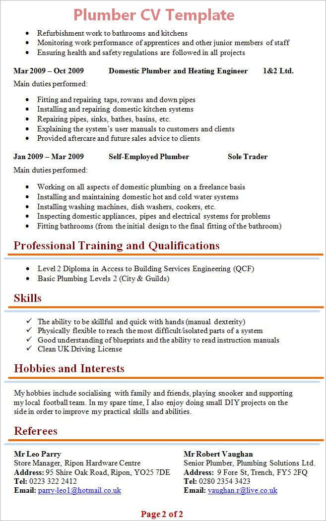 Plumber Resume Examples - Examples of Resumes - plumbing resume templates