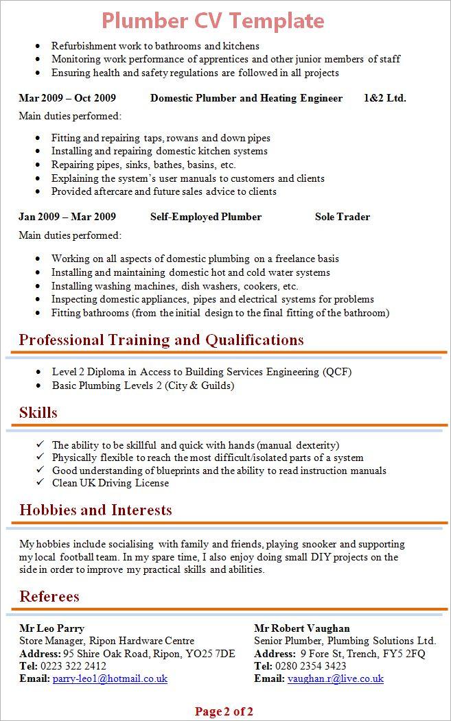 Plumber Resume Examples - Examples of Resumes - plumber resume template