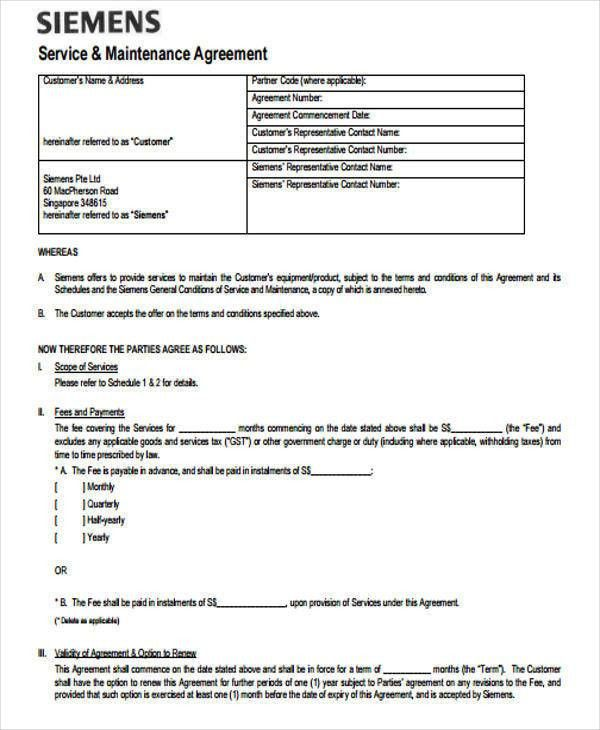 Service Contract Format Service Contract Template 8 Free Word Pdf - yearly contract template