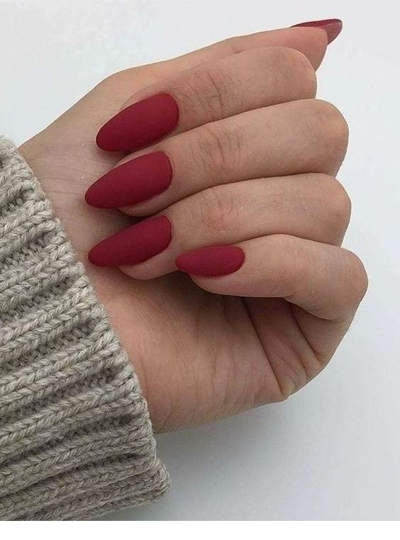 Nice matte burgundy nails style