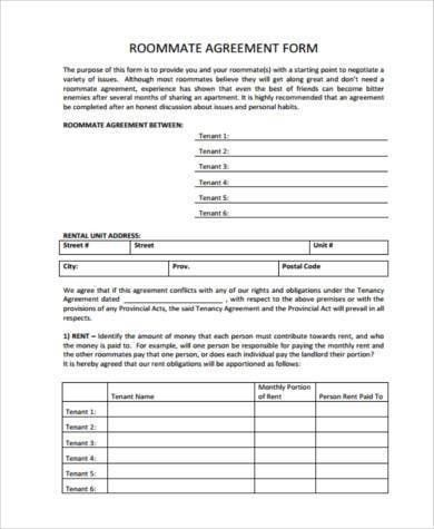 Roommate Agreement Template Roommate Contract Room Rental - roommate agreement form