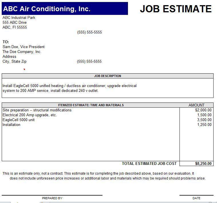Job Estimate Template Job Estimate Template Work Estimate, 11 Job - estimate proposal template