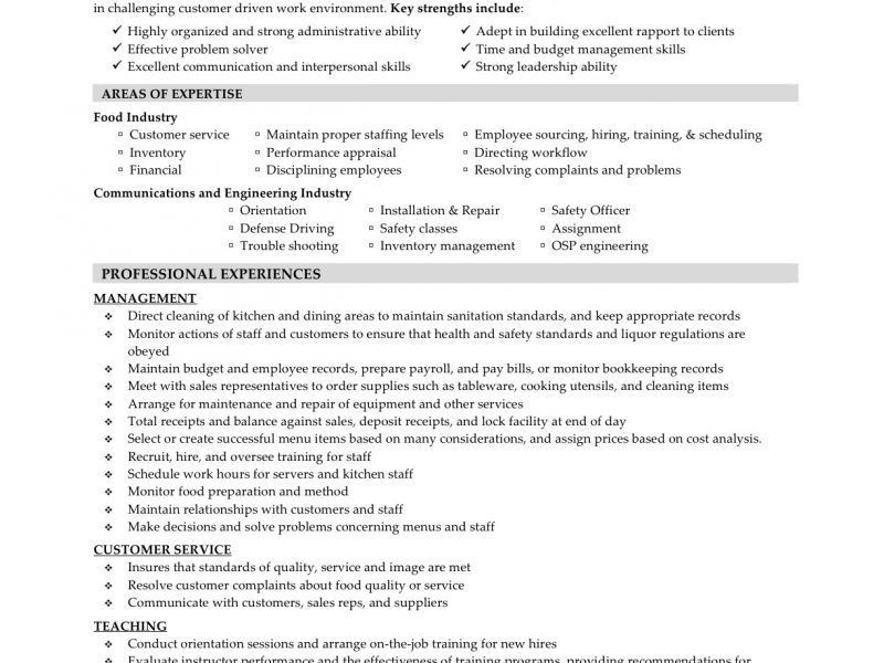 Resume Objectives For Food Service Food Service Waitress Waiter - waiter resume
