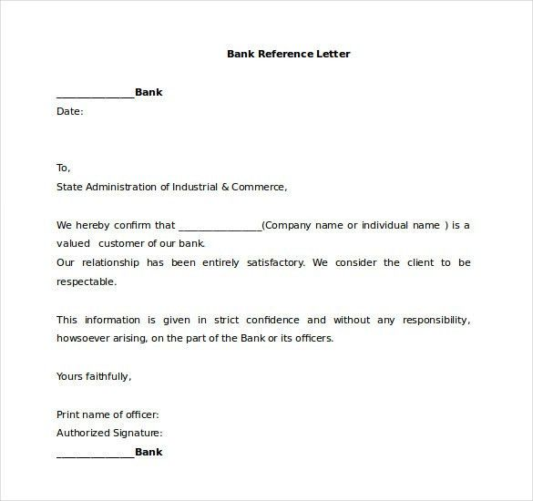 17+ Word Reference Letters Free Download   Free U0026 Premium Templates  Bank Reference Letter Template