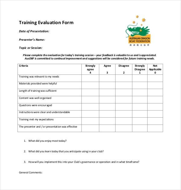 On The Job Training Evaluation Form 19 Sample Training Evaluation - sample form