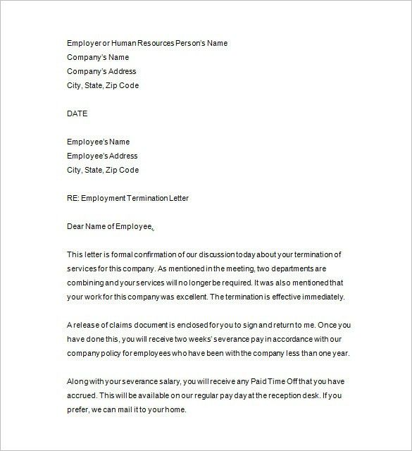 Termination Letter Format Free Termination Letter Template 33 - examples of termination letters