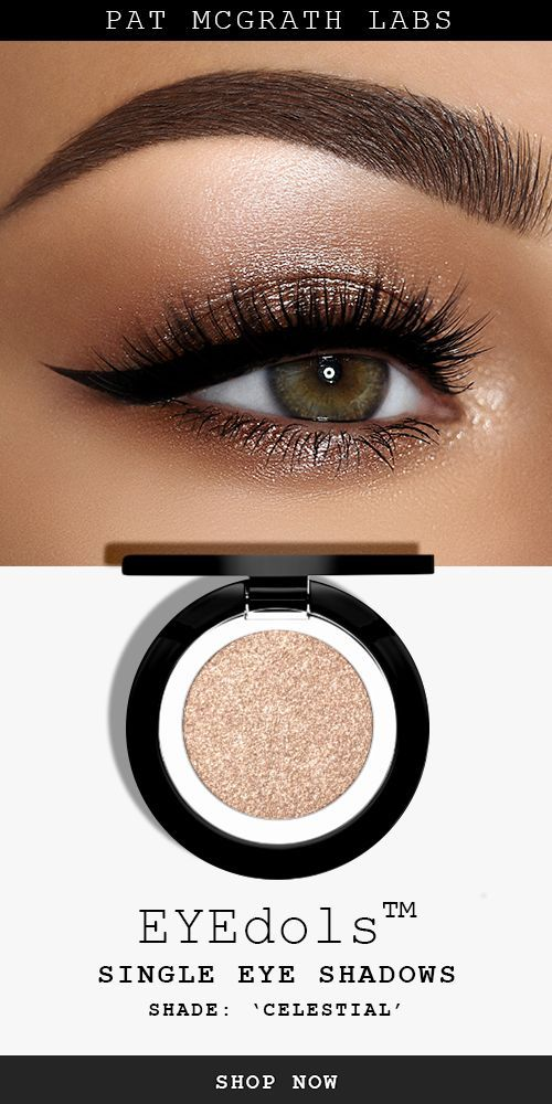 Recreate this pink copper metallic smokey eye makeup look with PAT McGRATH LABS *new* EYEdols single eye shadow shade 'CELESTIAL', a gleaming champagne shimmer pigment that's flattering on all skin tones. | Discover all 17 single eyeshadow pans in an array of silky mattes, major metallics, and sublime shimmers at PATMcGRATH.COM | Spring + Summer 2019 makeup ideas | #eyemakeupidea