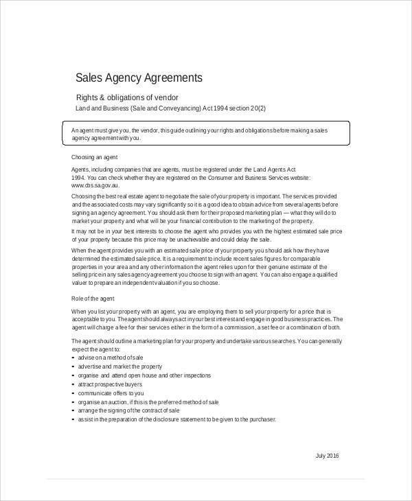 Doc#600730 Business Agency Agreement Template u2013 Sample Business - sales agent contracts