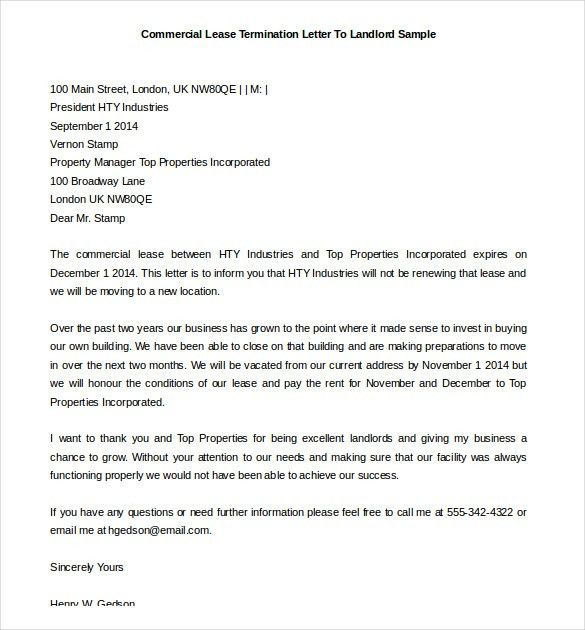 Letter For Lease Termination Lease Termination Letter Templates - sample lease termination letter