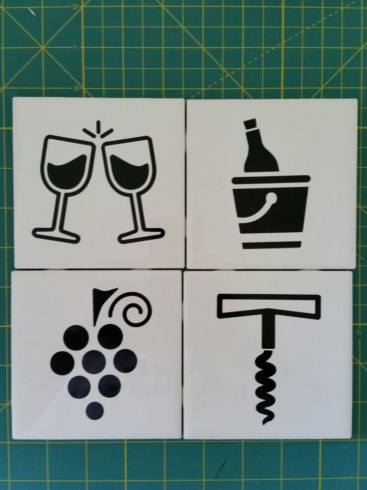 Wine Coasters Made With 4 25x4 25 White Ceramic Tiles