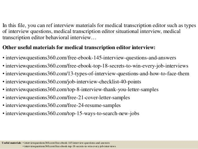 Best Medical Transcription Editor Cover Letter Gallery - New ...