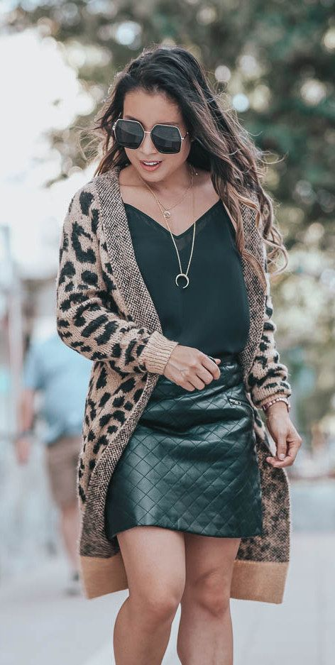 Long leopard print cardigan + quilted skirt
