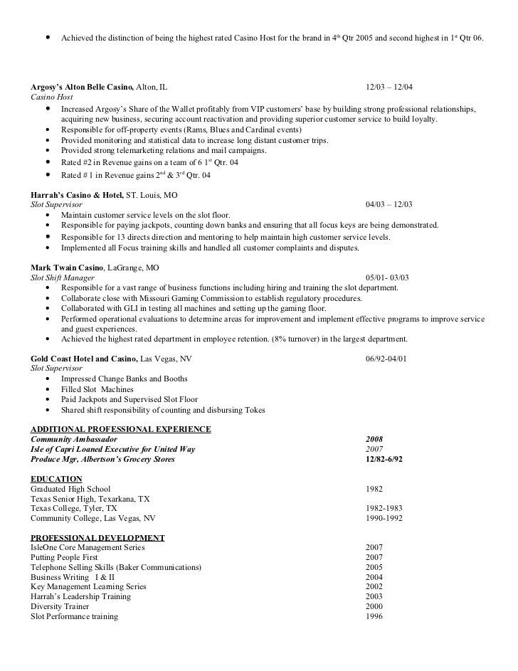 Casino Host Resumes Loaned Executive Cover Letter Node2004 Resume Template