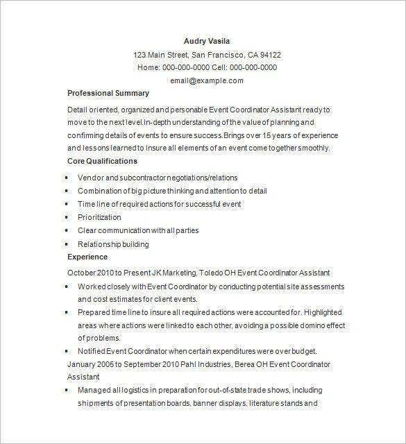 Event Planner Sample Resume Planner Resume, Event Planner Free - sample event checklist template