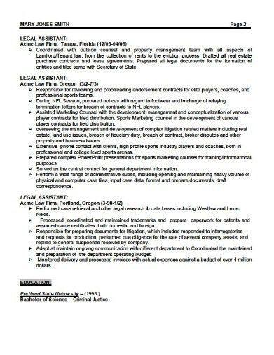 Legal Assistant Sample Resume Legal Resumes Legal Secretary - legal resume format