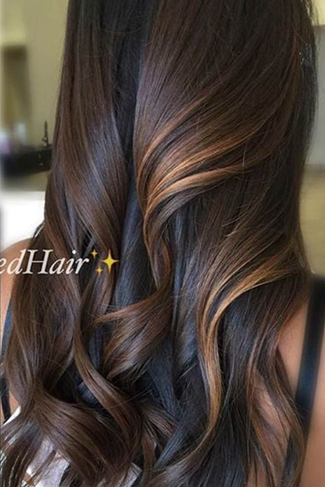 Long Brown Hair with Copper Balayage #longhair #curlyhair ★ Light and dark brown hair with highlights and lowlights looks spectacular. Discover trendy color ideas for short and long hairstyles. #glaminati #lifestyle #brownhairwithhighlights