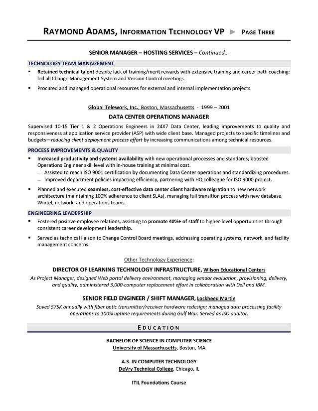Vp Of Information Technology Resume Vice President Of Technology - director of it resume