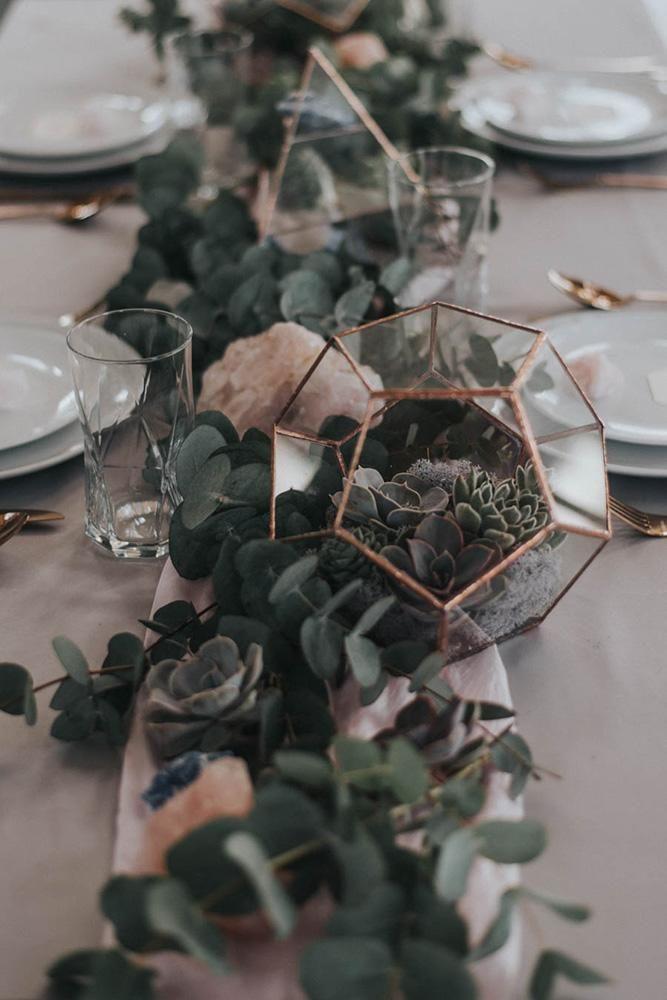 30 Sage Green Wedding Ideas ❤ sage green wedding tablerunner greenery and pink geode with geometry terrarium and succulents bai & elle #weddingforward #wedding #bride #weddingdecor #sagegreenwedding