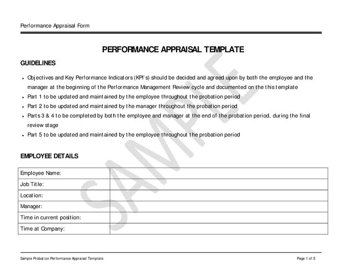 Sample Performance Appraisal Forms 8 Hr Appraisal Forms Hr - manager evaluation template