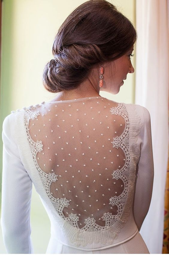 Glam back lace for wedding dress
