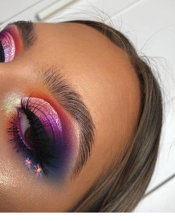 Orange, purple and flowers – eye makeup