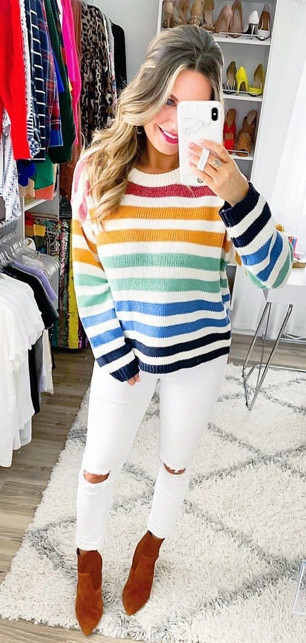 white and blue stripe long sleeve dress #winter #outfits