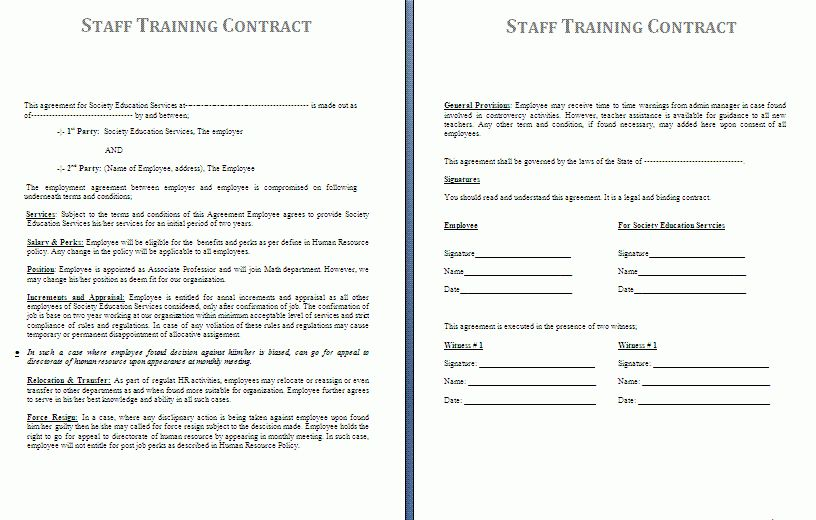 Templates For Contracts Contract Templates Microsoft Word - training agreement contract