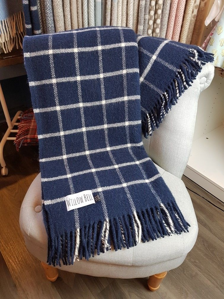 Navy Chequered Check Pure New Wool Tweedmill Sofa Bed Throw