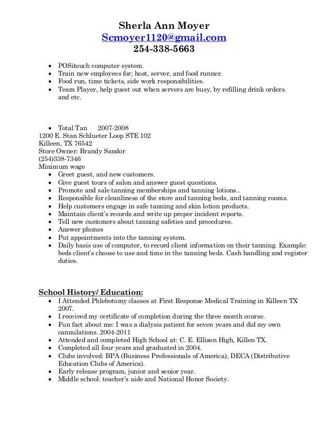 food runner resume example examples of resumes