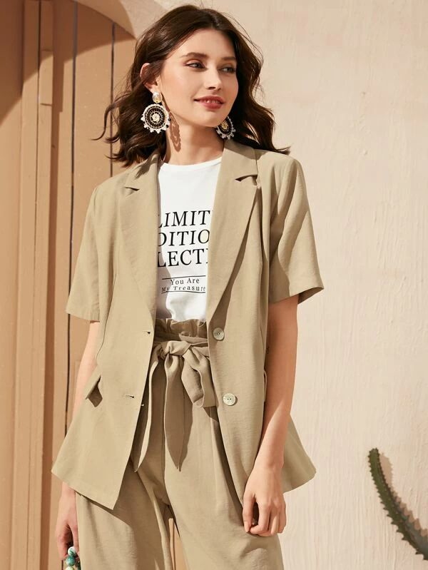 SHEIN Lapel Collar Short Sleeve Blazer