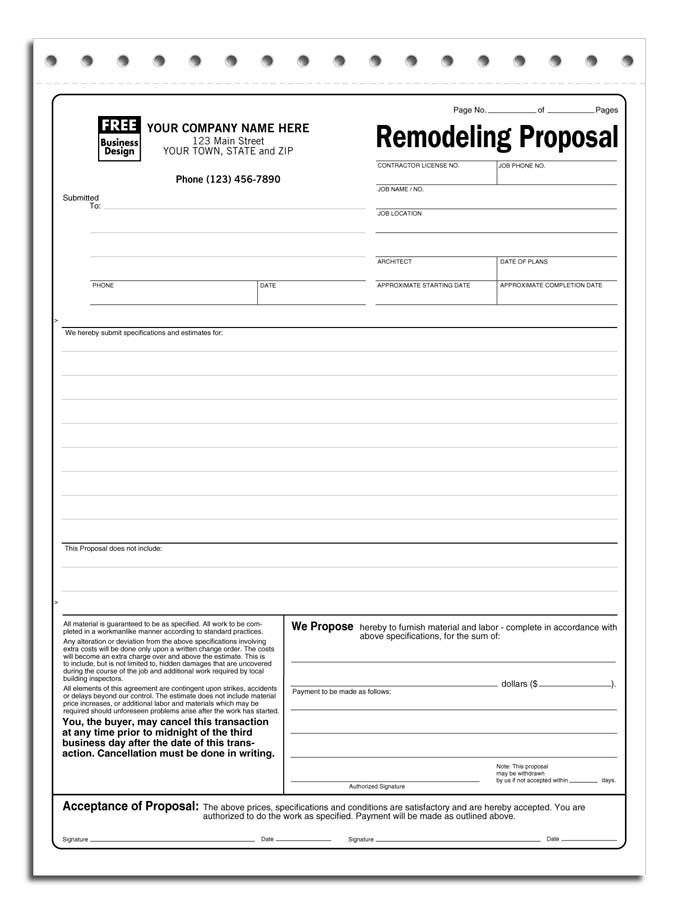Free Proposal Forms Printable Sample Construction Proposal - real estate proposal template