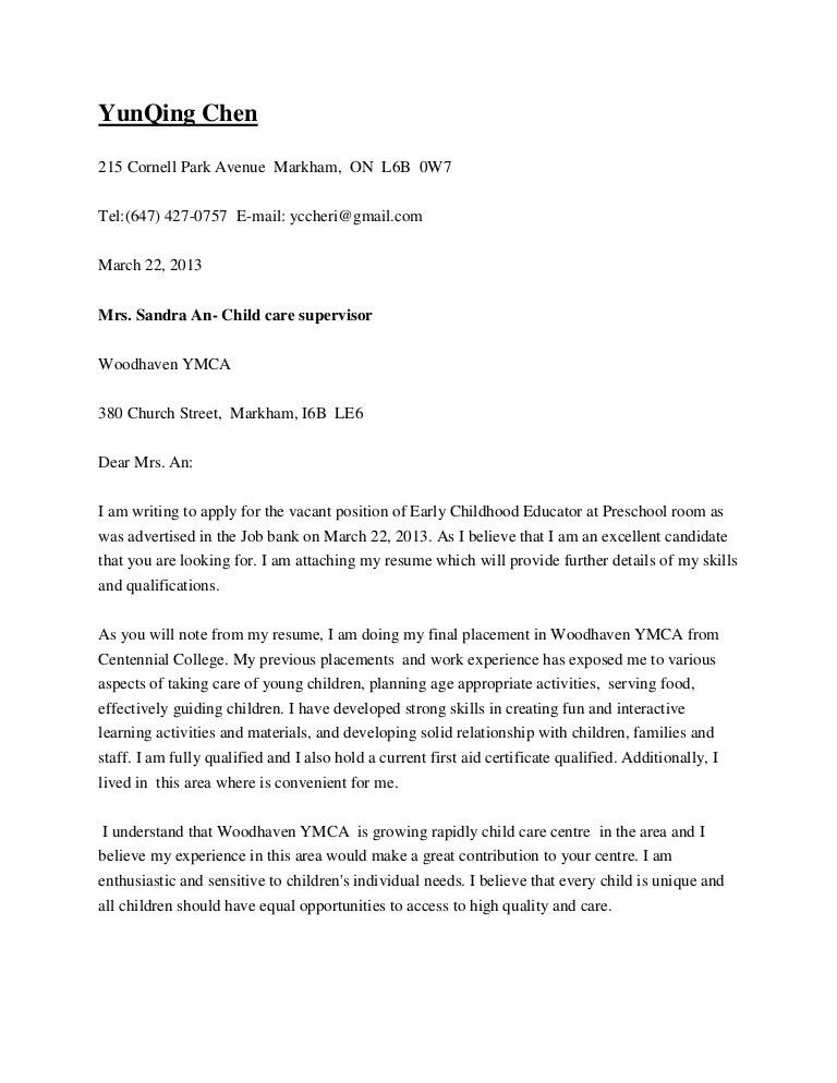 day care center director cover letter