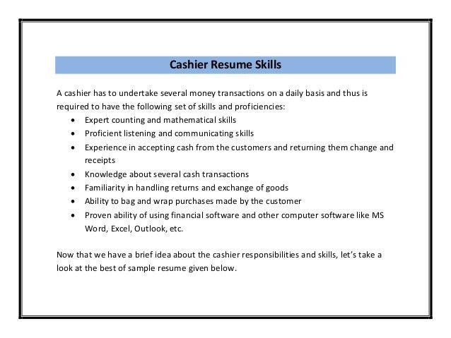 Sample Cashier Resume Skills Sample Resume For Cashier Job - sample cashier resume