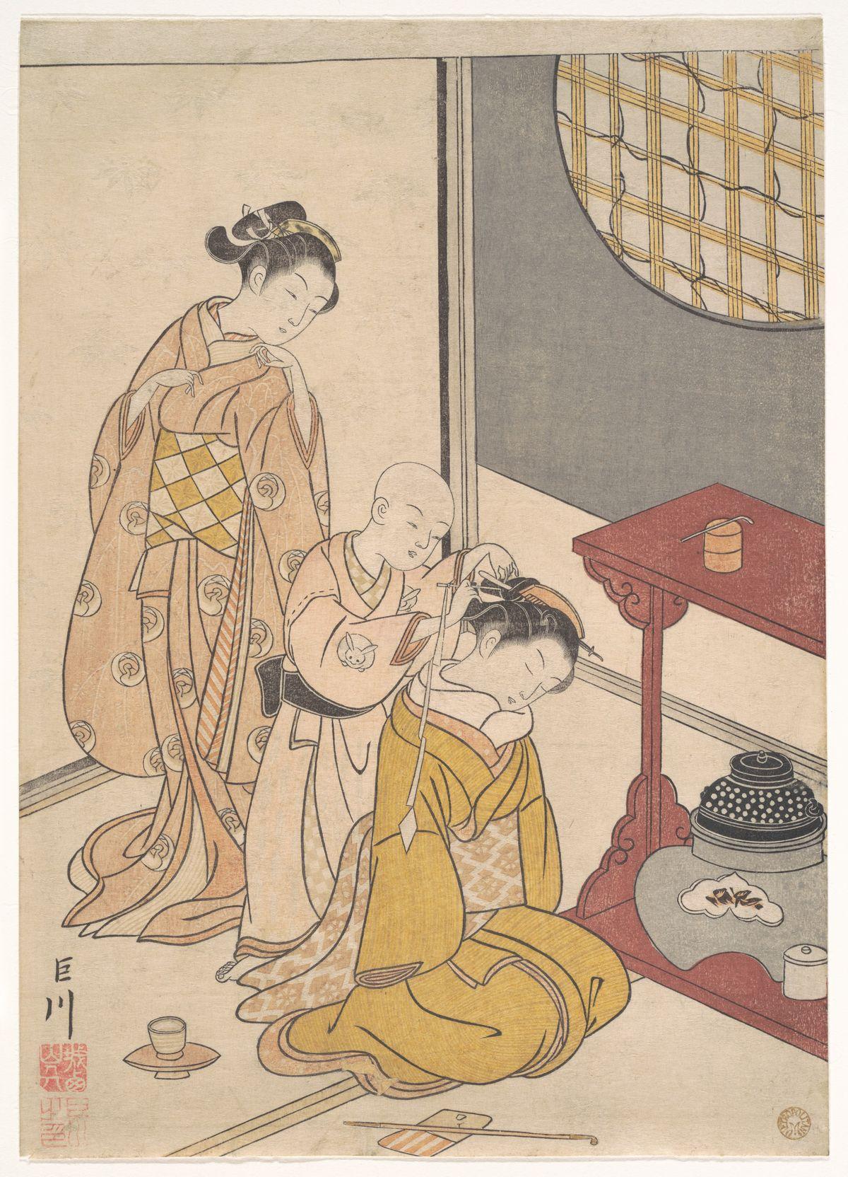 Night Rain at the Double-Shelf Stand, from the series Eight Parlor Views (Zashiki hakkei)