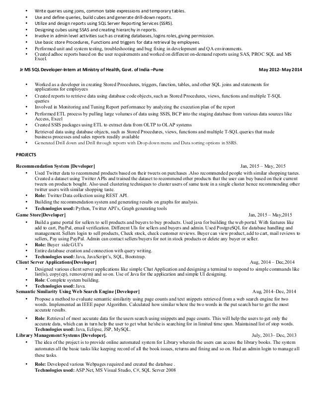 pl sql programmer sample resume