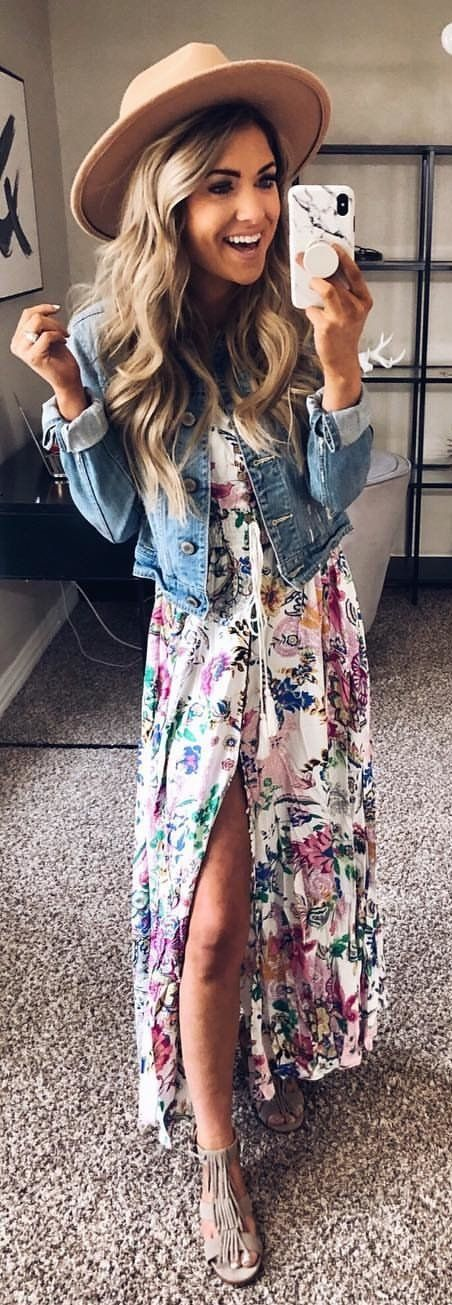 blue and pink floral dress #spring #outfits