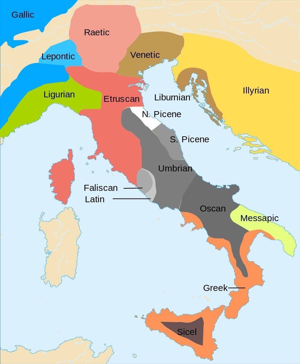 Map Of Italy And Surrounding Areas.600 Bc Languages Of Italy And Surrounding Areas Diagrams Charts