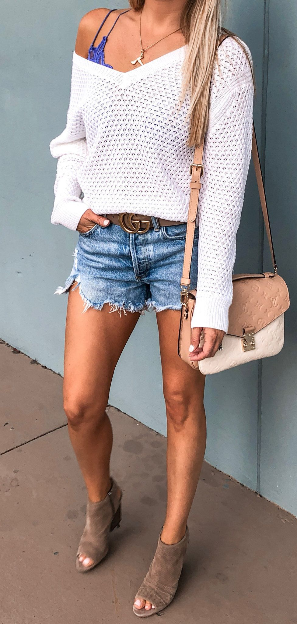 white v-neck long sleeved shirt #spring #outfits