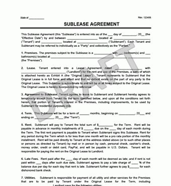 Sublet Lease Agreement Sublease Agreement Form Sublet Contract - sublease agreement