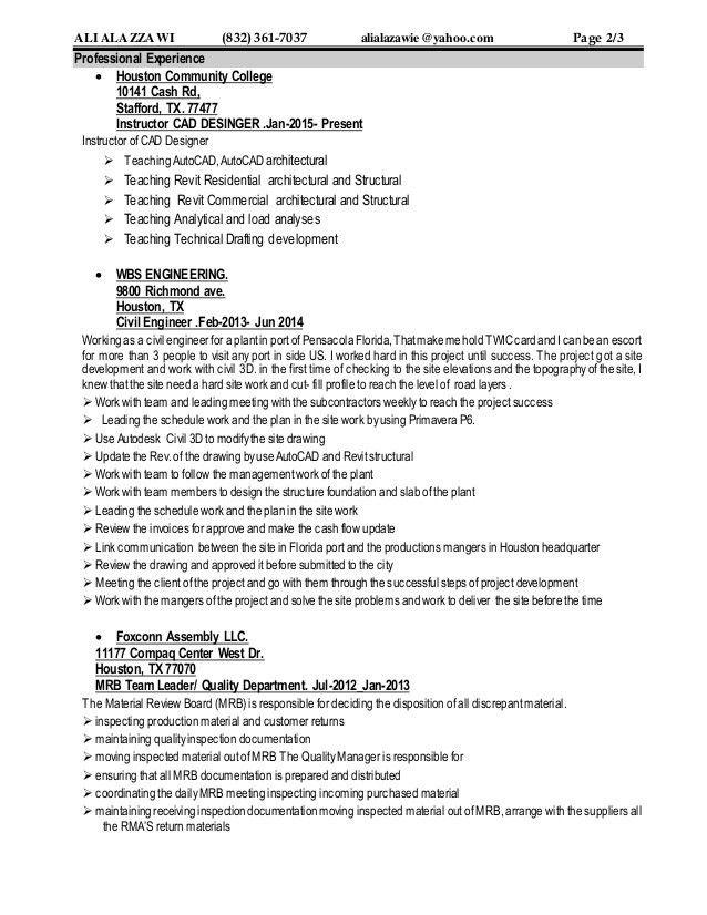 college instructor resume