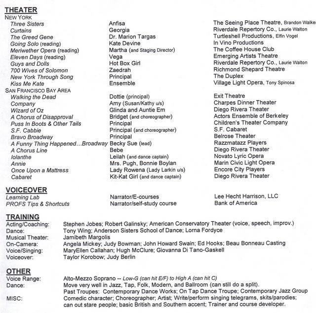 Singer Resume Template Singer Resume Example Resumecompanioncom - musical theatre resume template