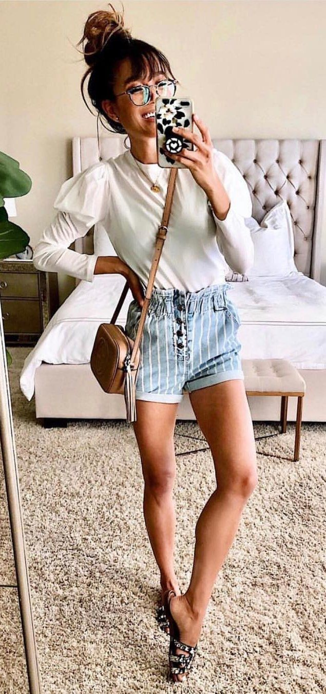 white long-sleeved shirt #spring #outfits