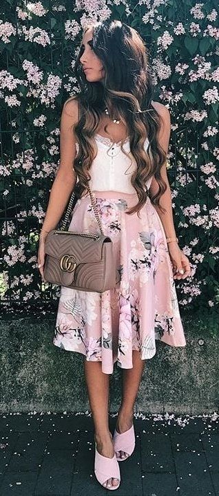white and black floral sleeveless dress #spring #outfits