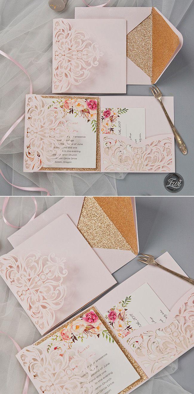 romantic blush pink flower rose gold glittery laser cut pocket wedding invitation