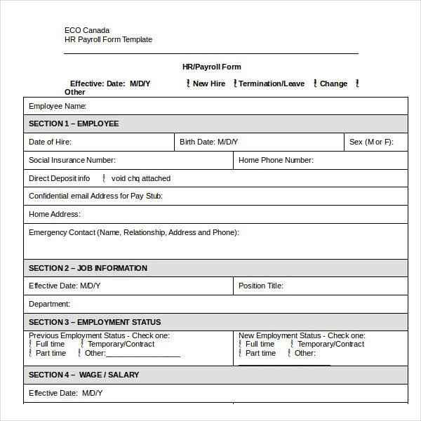 Payroll Change Form  BesikEightyCo