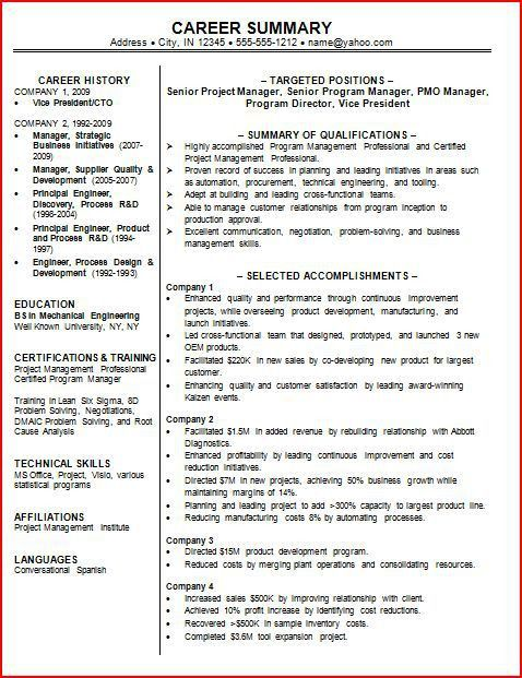 Best Resume Summary Statement Examples Sample Resume Summary - professional summary for cv