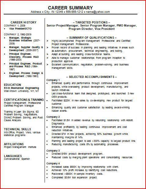 Best Resume Summary Statement Examples Sample Resume Summary - professional summary for cv